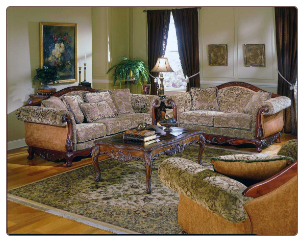 Spanish Styled Living Room Set in Warm Cherry Finish, 'Barcelona' Collection by Homelegance.