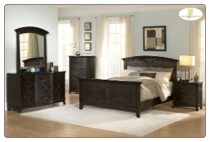 Coffee Finish Transitional Clean-Lined Bedroom Set with Panel Bed, 'Avalon' Collection by Homelegance.