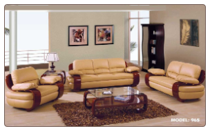 Global  - Plush Padded Arm Tan Leather Covered Living Room Set.