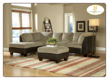 Brown Bella Microfiber Sectional in Herbal Bella Bi-Cast Vinyl Frame, 'Royce' Collection by Homelegance