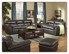 Weston Dark Brown All Leather Living Room Set in Transitional Style, 'Weston' Collection by Homelegance.