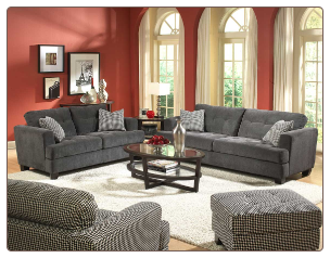 Grey Fabric Living Room Set with Deep Cushion Seats and Back, 'Maya' Collection by Homelegance.