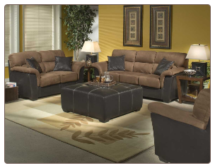 Two-Tone Brown Microfiber with Bi-cast Vinyl Accents Living Room Set, 'Wexford' Collection by Homelegance.
