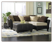 Two Toned Sectional in Brown Bella Microfiber and Bi-Cast Vinyl, 'Carrington' Collection by Homelegance.