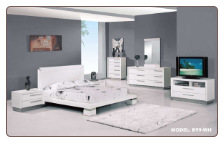 Queen - Verona Modern White Finished Bedroom Group with Platform Bed Set by Glboal Furnither USA