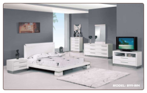 King - Verona Modern White Finished Bedroom Group with Platform Bed Set by Glboal Furnither USA