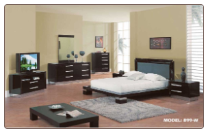 Queen - Verona Modern Wenge /Mahogany  Finished Bedroom Group with Platform Bed Set by Glboal Furnither USA