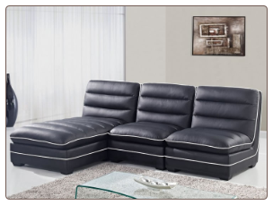 Lisle Black 3 Piece Sectional Sofa