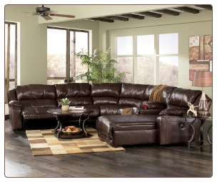 Braxton - Java Leather Living Room Sectional Set Signature Design by Ashley Furniture