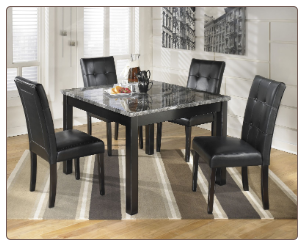 Maysville Black Square Counter Height Dining Set with Gray Faux Marble Top Table