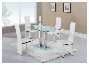Global Furniture - Jord Glass Dining Table in White Stripe - D2108N-DT-BS
