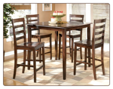 Millpoint  -  Counter Height Dinette Set & 4 Barstools