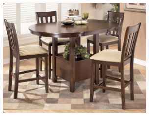 Nico   -  Counter Height Extended Table Set & 4 Bar Stools Signature Design by Ashley Furniture
