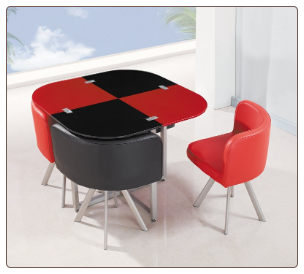 Global Furniture Modular Red and Black Table Set with 4 Chairs D536DT/R/BL/5PC