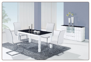 TICUN - 5PC MODERN GLASS DINING TABLE & 4 BLACK CHAIRS