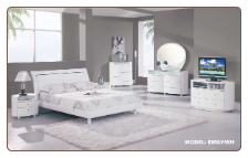 EMILY -Classic White High Gloss Finish Contemporary Bedroom Set by Global Furnither USA (Queen)