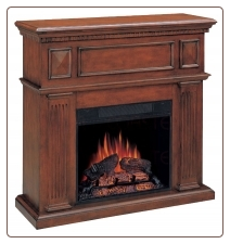 Electric fireplace mantel with heater insert