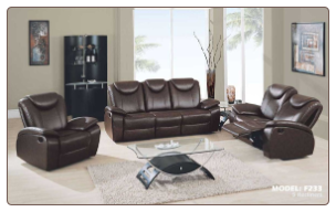 Global  -  Dark Brown Leather Covered Reclining Living Room Set