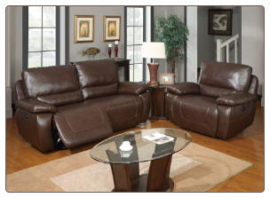 U1027 Global Furniture USA Brown Power Reclining Sofa and Chair