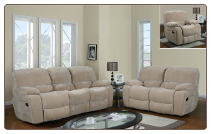 Global Furniture Reclining Console Sofa and Loveseat Set - Champion Froth U2007