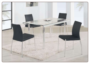 Metal and Glass Constructed Elegant Sturdy Dining Room Set by Global Furnither USA