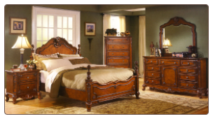 Graceful Carved Bedroom Set with Poster Bed, 'Madaleine' Collection by Homelegance.
