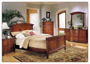 Avalon Cherry Finish Bedroom Set