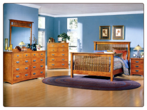 Traditional Bedroom Set in Mission Oak Finish with Panel Bed, 'The Valley' Collection by Homelegance.