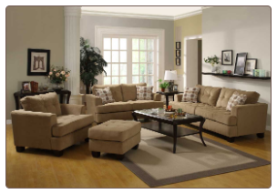Classic camel tone Living Room Set with Deep Cushion Seats and Back, 'Maya' Collection by Homelegance.