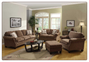 Contemporary Light Fabric Living Room Set with Cushion Seating, Back and Arms, 'Tux' Collection by Homelegance.
