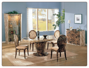 Luxor  -  Table + 4 Chairs by American Eagle High-Gloss Two-Toned  Dinning Room Set.