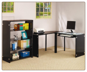 "Lawnview Contemporary ""L"" Desk with Black Glass Top by Coaster"