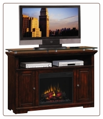 Midnight Cherry Media Mantel Electric Fireplace