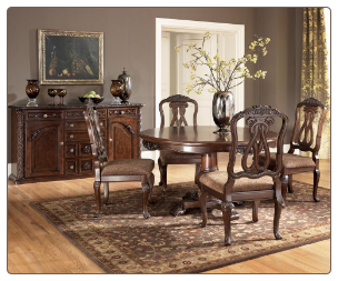 North Shore  -Round Pedestal Table Top  & Side Chair Signature Design by Ashley Furniture