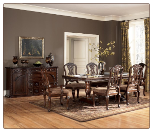 North Shore  -  Double Pedestal Table & Chair Set Signature Design by Ashley Furniture