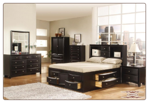 Omega - Walnut  Finished Bedroom Set with Storage Bed by Empire Design Furnitures