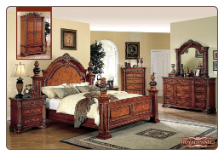 Royal - Medium Brown Finished Bedroom Set with Carved Elements