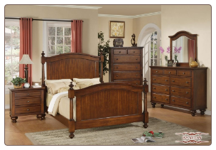 Beacon - Warm Polished Finished Traditional 6 PCS Complete Bedroom Set with Panel Bed