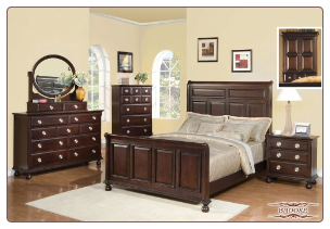 Brooke- Luxurious Espresso  Finished 6 PCS Complete Bedroom Set with Panel Bed