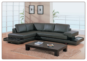 Modern Dark Brown Leather Sectional with Wood boards By Global Furniture ( 729 )