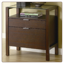 Skillman Contemporary File Cabinet with Glass Top by Coaster