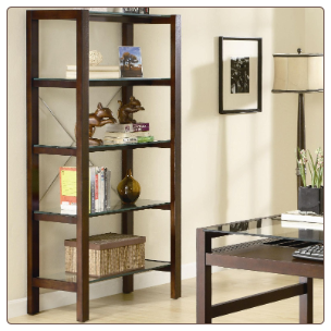 Skillman Contemporary Bookcase with 5 Glass Shelves by Coaster