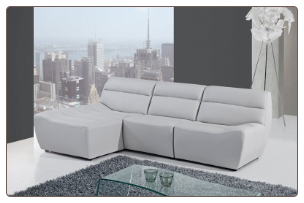 U3730 Sectional in Grey Bonded Leather by Global Furniture USA