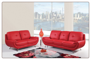 Bonded Leather 2 PC Sofa Set with Tufted Backs (Sofa and Loveseat)