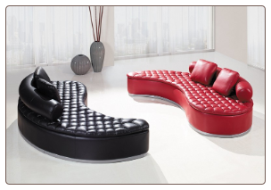 Unique Modern Sofa in Black or Red