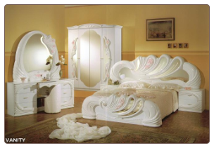 VANITY QUEEN SIZE  BEDROOM SET BY GLASS-FORM COLLECTION