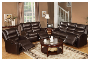 Poundex Black Color Modern Style Bonded Leather Motion Set F6651