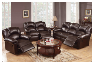 Poundex Modern Style Espresso Bonded Leather Reclining SET F6674/5/6