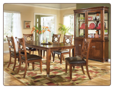 Amanda - Transitionally styled dark brown finished convenient weaved trim Dining Room Set by Global USA