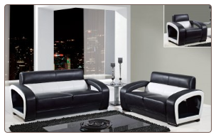 Global Furniture Black and White Modern Leather Sofa and Loveseat UA199-BL/WH2PC
